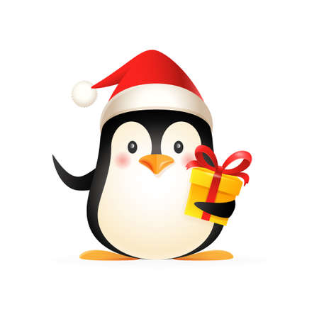 Cute penguin with Santas hat and gift - vector illustration isolated on white background