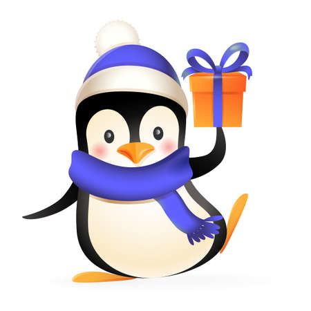 Cute penguin with winter clothes and gift - vector illustration isolated on white background