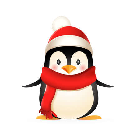 Cute penguin wear winter clothes - vector illustration isolated on white background 向量圖像