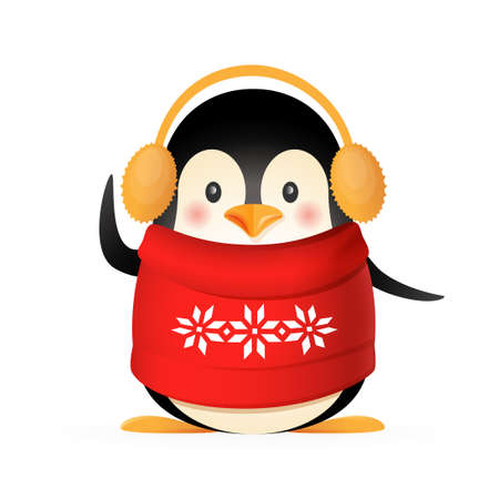 Cute penguin with sweater and earmuffs  - vector illustration isolated on white background