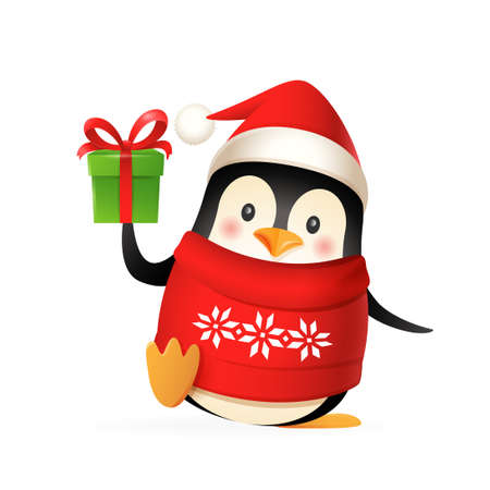 Cute penguin with Santas hat, sweater and gift celebrate Christmas holidays - vector illustration isolated on white background 向量圖像