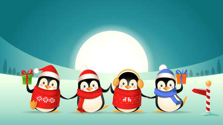 Cute penguin friends celebrate winter holidays - winter landscape background