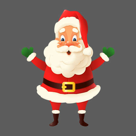 Happy cute Santa Claus isolated - vector illustration