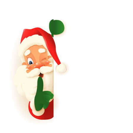 Cute Santa Claus peeking on left side of board, saying hush be quiet with finger on lips shhh gesture - vector illustration isolated on transparent background