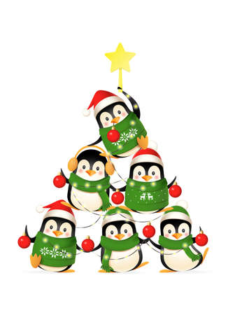 Cute penguins form a Christmas tree shape - funny Christmas greeting card - isolated on transparent background