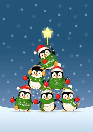 Cute penguins form a Christmas tree shape - winter landscape