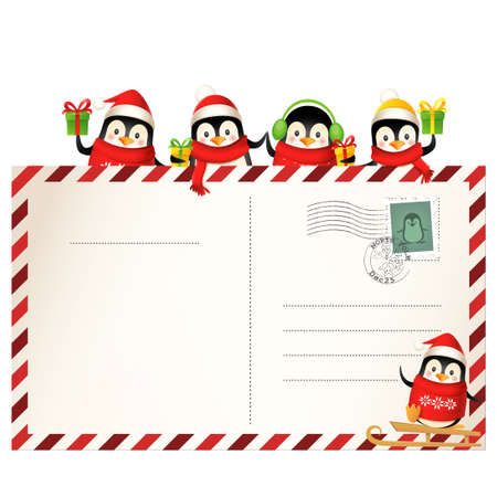 Cute Penguins on Christmas postcard - holiday greeting card template isolated 向量圖像