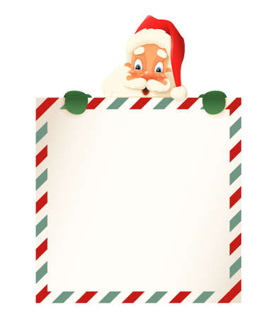 Cute Santa Claus peeking on top of letter  - vintage vector illustration 向量圖像