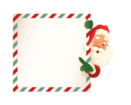 Cute Santa Claus peeking on right side of letter and shows on the board - vintage vector illustration 向量圖像