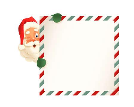 Cute Santa Claus peeking on left side of letter  - vintage vector illustration