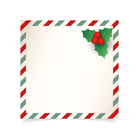 Christmas vintage letter or postcard template - isolated on transparent background