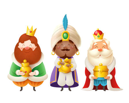 Cute Three Wise men with gifts celebrate Epiphany - Three kings Gaspar, Melchior and Balthazar vector illustration isolated on white Vektoros illusztráció