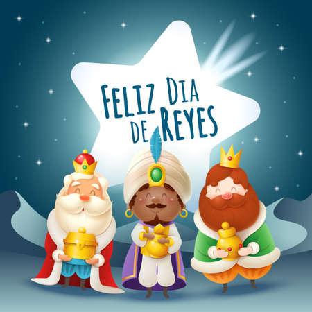 Epiphany greeting card - Three Kings with comet - desert at night landscape - Feliz Dia de Reyes Vektoros illusztráció