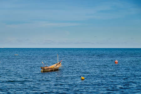 blue fish: Fishing boats on the sea Stock Photo