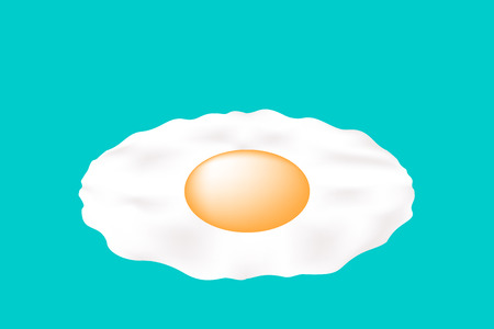 broken eggs: Fried egg icon green background. Illustration
