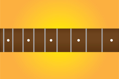 Guitar fretboard or fingerboard in rosewood, yellow background.