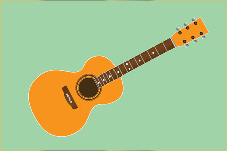 Acoustic guitar on green backgroun, vector illustration