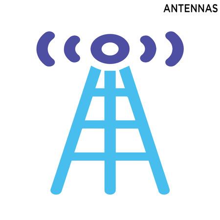 Antennas icon symbol design isolated on white background