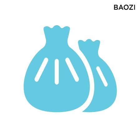 Baozi icon white background simple element illustration food restaurant concept Foto de archivo - 125153681
