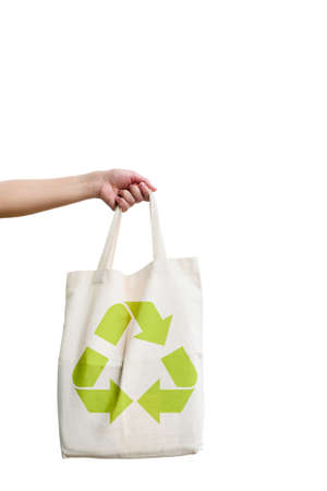 eco concept  with fabric eco bag and recycle sign icon   Isolated on a white background   photo