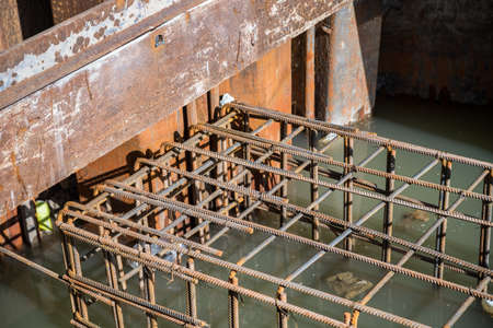 reinforcement: steel rod, reinforcement before pouring concrete Stock Photo