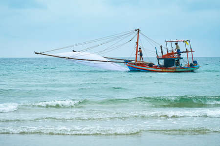 Fishing boats for fishing on clear days