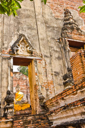 Ubosot and Buddha image of Wat Borommaphuttharam in Ayutthaya , Thailand photo