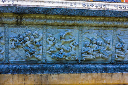 Ramayana at wall of Wat Phanancheong in Ayutthaya , Thailand photo