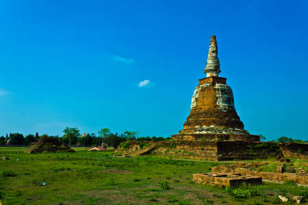Old chedi is near the Ayothaya Floating Market , Ayutthaya Thailand. photo