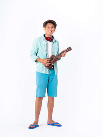 asian smiling man wear hat, blue shirt, blue shorts and sandal isolated white background