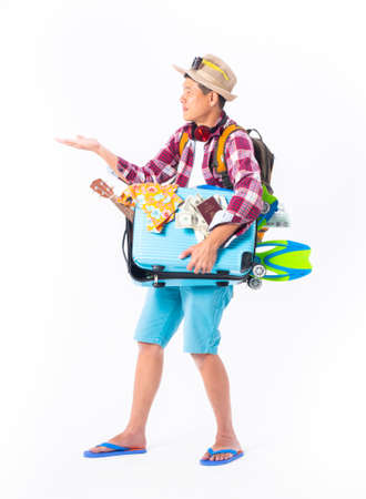 traveler concept.asian funny man wearing snorkel red plaid shirt,blue short and fins holding blank board,copy space isolated white background.