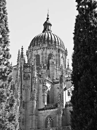 salamanca: Salamanca cathedral in black and white Stock Photo