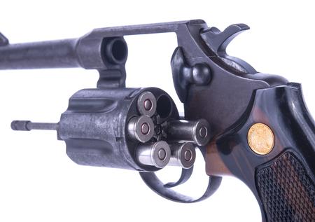 closeup shot of .38 revolver handguns bullets in the storage cylinder