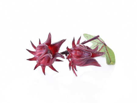 sepals: Hibiscus sabdariffa or roselle fruits.Roselle fruits isolated on white background