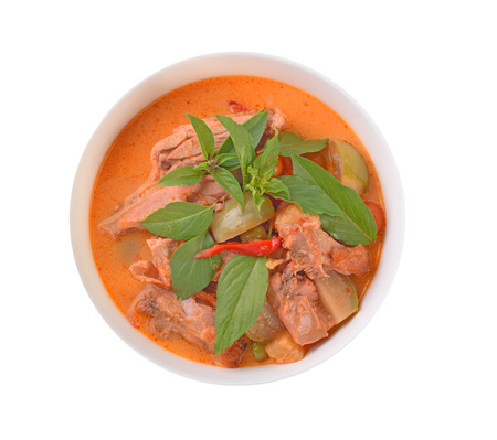 Kaeng Pled Ped Yang (Roasted Duck in Red Curry), Popular Thai food , Top view On white background