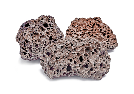 Pumice volcanic stone isolated on white background Imagens