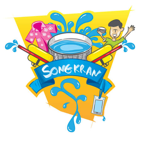 Songkran festival poster design vector illustration Illustration