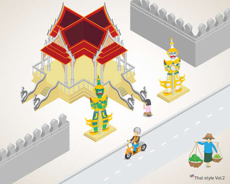 Thai style& Temple,worship,woman hawker,landmark Illustration