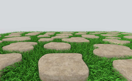 Grass and brick on clear background,3d