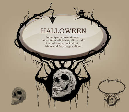 Frame text ,background haunting for halloween black and white skull
