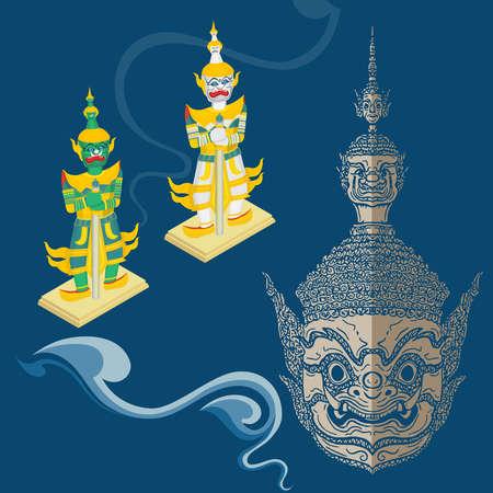 vector ramayana máscara y figura, estilo tailandés, recortado y aislado, cultura asiática Ilustración de vector