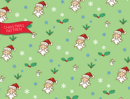 pattren santaclause christmas and snowman,doodle and vector