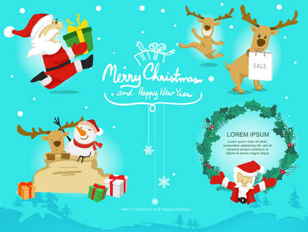 cartoon santa claus reindeer snowman and leaf on line background,vector and doodle style Illustration