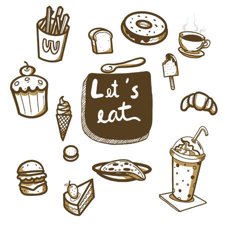 hand drawn doodle food set,desert and beverage,vector