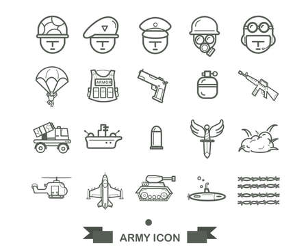 set of Army icon,line army and military icon vector