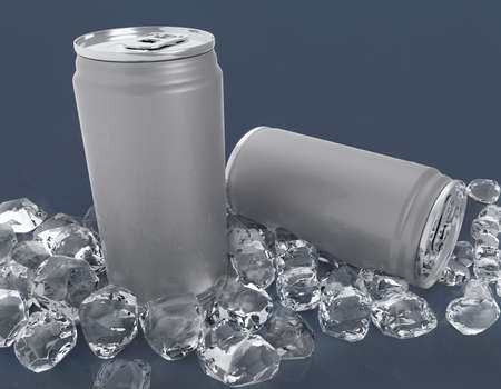 Blank two aluminium can mockup and ice cube on clear background. Can place for your design,3D illustration