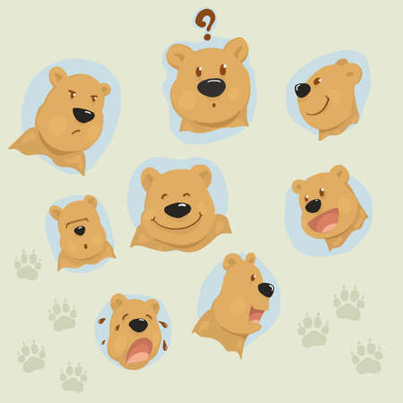 set of vector bear face,doodle style