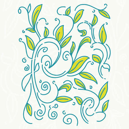doodle leaves and plant for decoration,leaves background,vector Çizim
