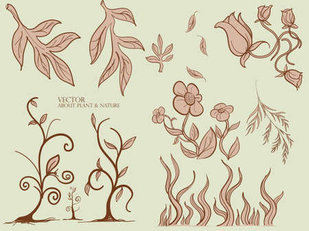 Leaves and plant Seamless pattern.,Henna plant.,Vector leaf,Floral background.
