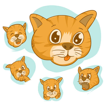 set of face vector cute cat,different Adorable Cartoon Cats Faces